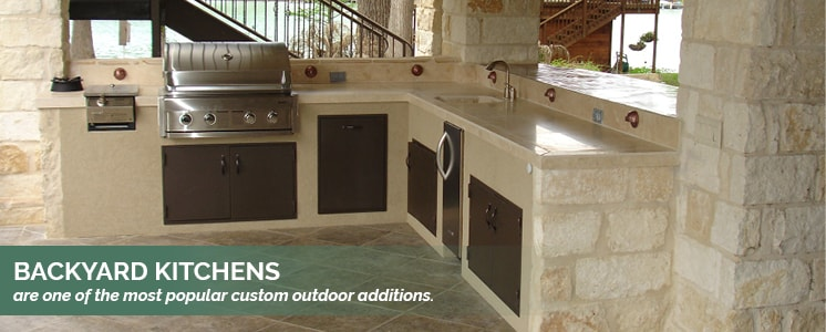 Backyard kitchens are a popular outdoor addition.